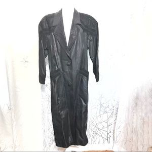 80's style black trench coat leather jacket